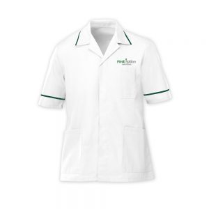 First Option Healthcare men's uniform which is a tunic
