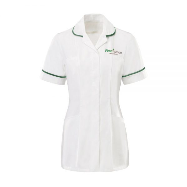 First Option Healthcare Women's uniform which is a tunic